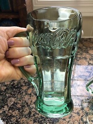2 Libbey Coca Cola Glass Mugs Vintage Green Tinted Coke NEW OLD STOCK W/ Sticker