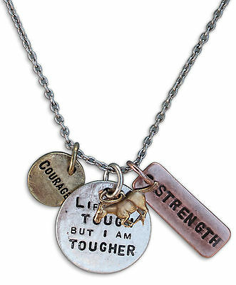 Inspirational Life is Tough But I Am Tougher Stamped Horse Charm Necklace