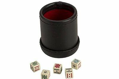 StealStreet SS-CQG-7815 Black/Cream Color Deluxe Leather Like Dice Cup with 5