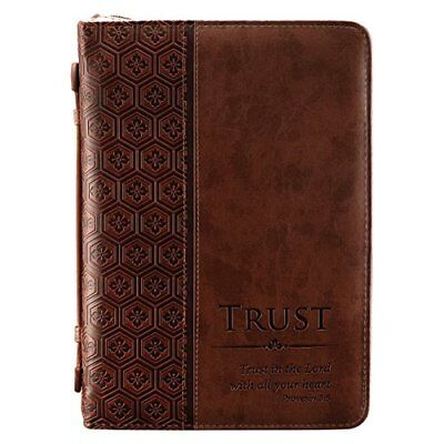 """Trust"" Brown Tile Design Bible / Book Cover - Proverbs, Christian Art Gifts"