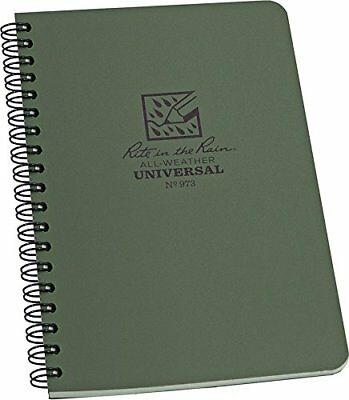 """Rite in the Rain All-Weather Side-Spiral Notebook, 4 5/8"""" x 7"""", Green Cover"""