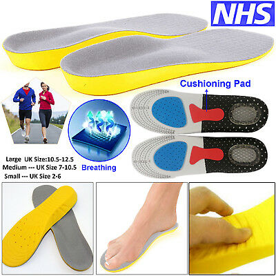 Soft Unisex Orthotic Arch Support Cushion Run Insole Gel Heel Absorb Shoe Pad UK