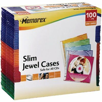 Memorex Slim CD Jewel Case 5mm (Assorted Colors,100-Pack)