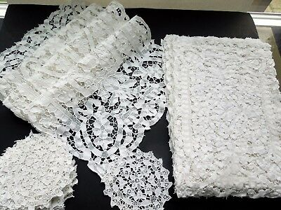 Point de Venise Needle Lace Set 6 Placemats 6 Round Coaster 1 Table Runner Italy