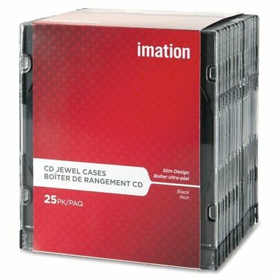 Imation 41017 CD/DVD Slim Line Jewel Case, Clear/Black, 25/Pack