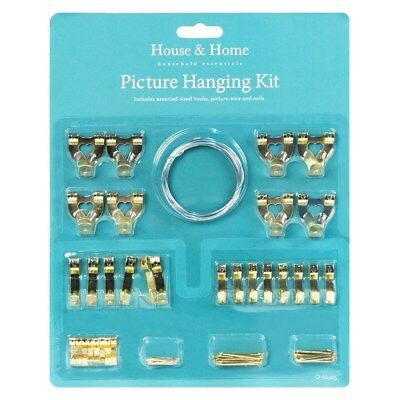 60 Assorted Picture Hanging Kit Mirror Hook Set Wall Mounted Picture Wire Hanger