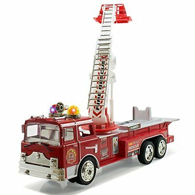 """12"""" Bump & Go Rescue Fire Engine Truck Kids Toy with Extending Ladder & Lights"""