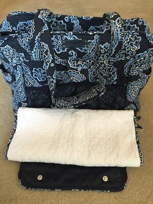 Vera Bradley Stroll Around Diaper Bag Bandana Blue Large Baby Changing Pad