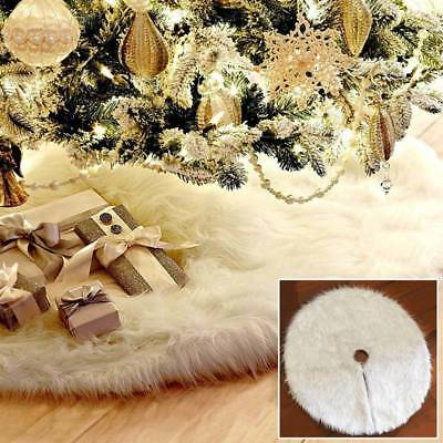 Newest Christmas Tree Skirt Soft White Plush Round Mat Xmas Home Party Ornament
