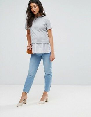BNWT ASOS Light Wash Maternity Florence Jeans UK 12 Under Bump Straight Leg