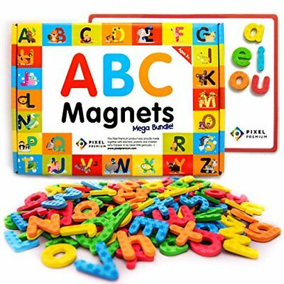 Pixel Premium ABC Magnets for Kids Gift Set - 142 Magnetic Letters for Fridge