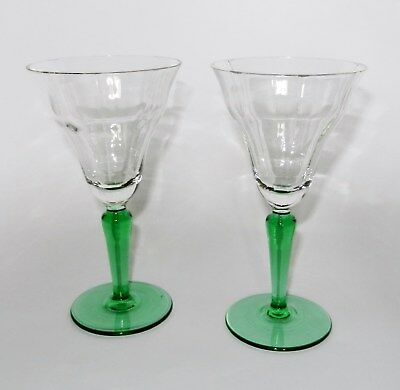 Pair Vintage 1930s Art Deco Green Stem Fluted Bell Shaped Cocktail Glasses x2