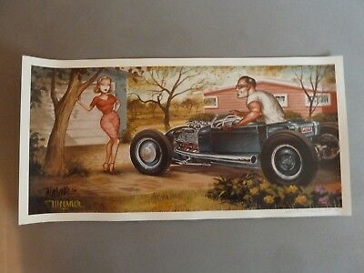 """Keith Weesner Druck """"Better bring a sweater"""" Hot Rod Lowbrow Flathead"""
