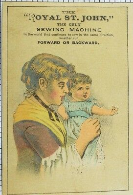 1870's-80's Royal St. John Sewing Machine Poem on Back Victorian Trade Card P59