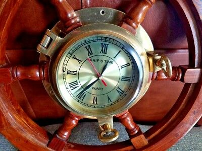 Vintage Ship Clock Beautiful Brass In Great Condition Working
