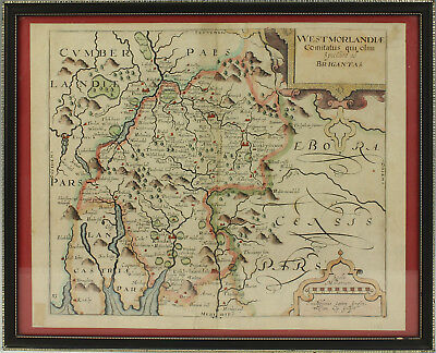 ANTIQUE 17thC MAP OF WESTMORLAND BY SAXTON / KIP