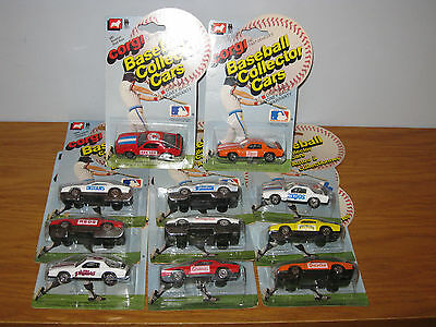 Job Lot Of 11 Rare Corgi - Major League Baseball Team Cars - Unused And Carded