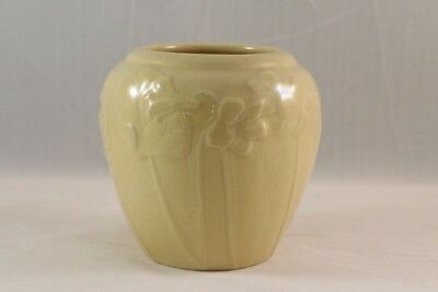 "Vintage ROOKWOOD Art Pottery YELLOW Gloss 4"" VASE XLVI 6432 VIOLET & Leaf Design"