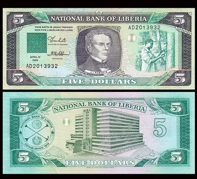 LIBERIA 5 Dollars, 1989, P-19, AU World Currency