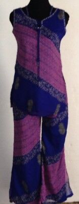 Ethnic Pantsuit Gypsy Boho Purple Blue Beaded Flared Pants Made In India Small