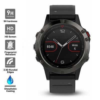 For Garmin Fenix 5 Watch Transparent Tempered Glass Screen Protector Film Guard