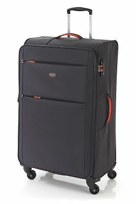 New  Flylite Tahoe 81cm Soft Suitcase Luggage Grey/Orange by Strandbags