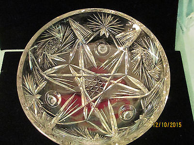 "Brilliant Cut Glass Pinwheel Crystal Large 7-1/2"" Footed"