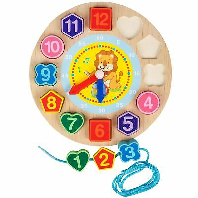 Educational Shape Sorting Wooden Clock Kids Time Telling Learning Toy