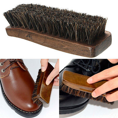 Practical Horse Hair Professional Shoes Shine Boot Polish Buffing Brush New.