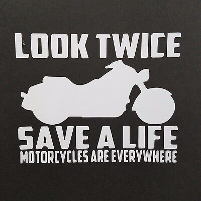 Look Twice Save a Life Decal Vinyl Decal for laptop windows wall car boat