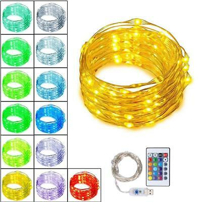 13 Color Changing 5M 50LEDs USB Fairy String Lights Copper Wire W/ 24 Key Remote