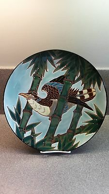Large Hand Painted Asian Bird And Bamboo Design Porcelain Decorative Art Plate
