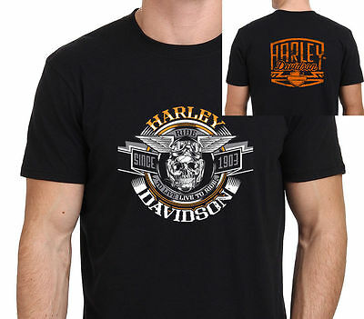 new rare Motorcycle costum Live To Ride Logo Black T-Shirt Size M-5XL