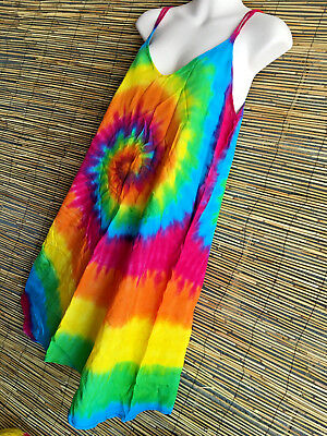 lot of  5 COOL RAYON RAINBOW festival DRESSES.ezi one fit.Boho hippie.NEW.STRAP