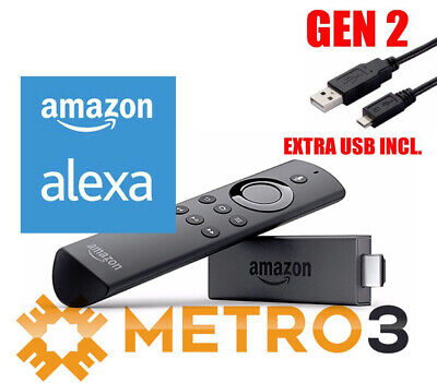 2017 Amazon Fire TV Stick 2 + Alexa VOICE Enabled Remote Streamer w EXTRA USB