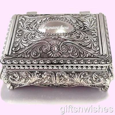 GORGEOUS Antique/Vintage Style Silver Plated Jewellery/Trinket Box 9x6x7.5cm