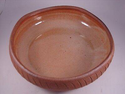 """Vintage DuBiuk 10"""" Brown Pottery Bowl Hand Crafted Studio Art 1993 Artist Signed"""