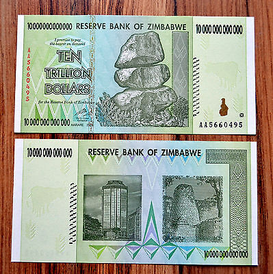 Zimbabwe 10 Trillion Dollars 2008 P-88 Unc Banknote Money Africa Currency Bill