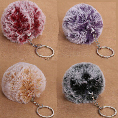 NEW 2017 Faux Rabbit Fur Pom-pom Key Chain Bag Charm Fluffy Puff Ball KeyRing ZY