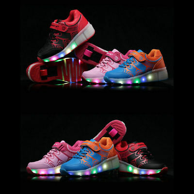 Unisex Kids Boys LED Light Shoes Roller Skate Shoes Wheels Breathable Sneakers