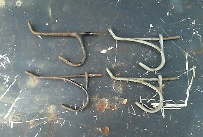 Antique Lot of 4 Twisted Wire Hangers Hooks Coat Rack Schoolhouse