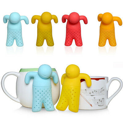 Silicone Cool Man Diffuser Infuser Loose Tea Leaf Strainer Herbal Spice Filter*