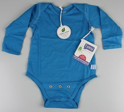 I Play Bio Baumwolle Lange Ärmel Body Long Sleeve 3-6M blau türkis Jungs Z16-333