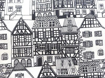 Black White Houses Fabric Fat Quarter Cotton Craft Quilting Monochrome