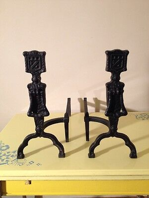 Antique Hammered Cast Iron Fireplace Andirons