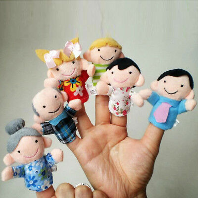 6Pcs Family Finger Puppets Plush Doll Baby Educational Hand Cartoon Animal Toy