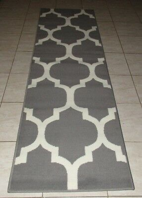 New Grey Modern Floor Hallway Runner Rug 67X230Cm