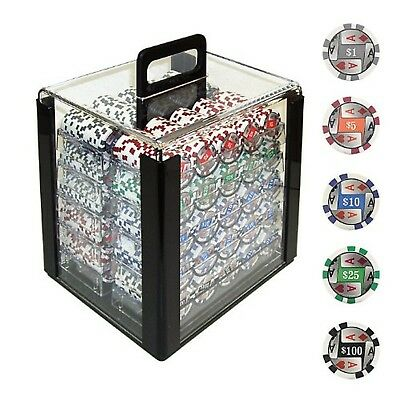 Trademark 1000 4 Aces with Denominations Poker Chips In Acrylic Carrier Clear