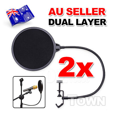 2X Double Layer Recording Pop Studio Microphone Filter Mask Wind Screen Shield