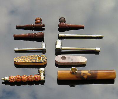 Selection of Wooden Metal Stone Pocket Smoking Pipes + 5 Free Pipe Gauzes